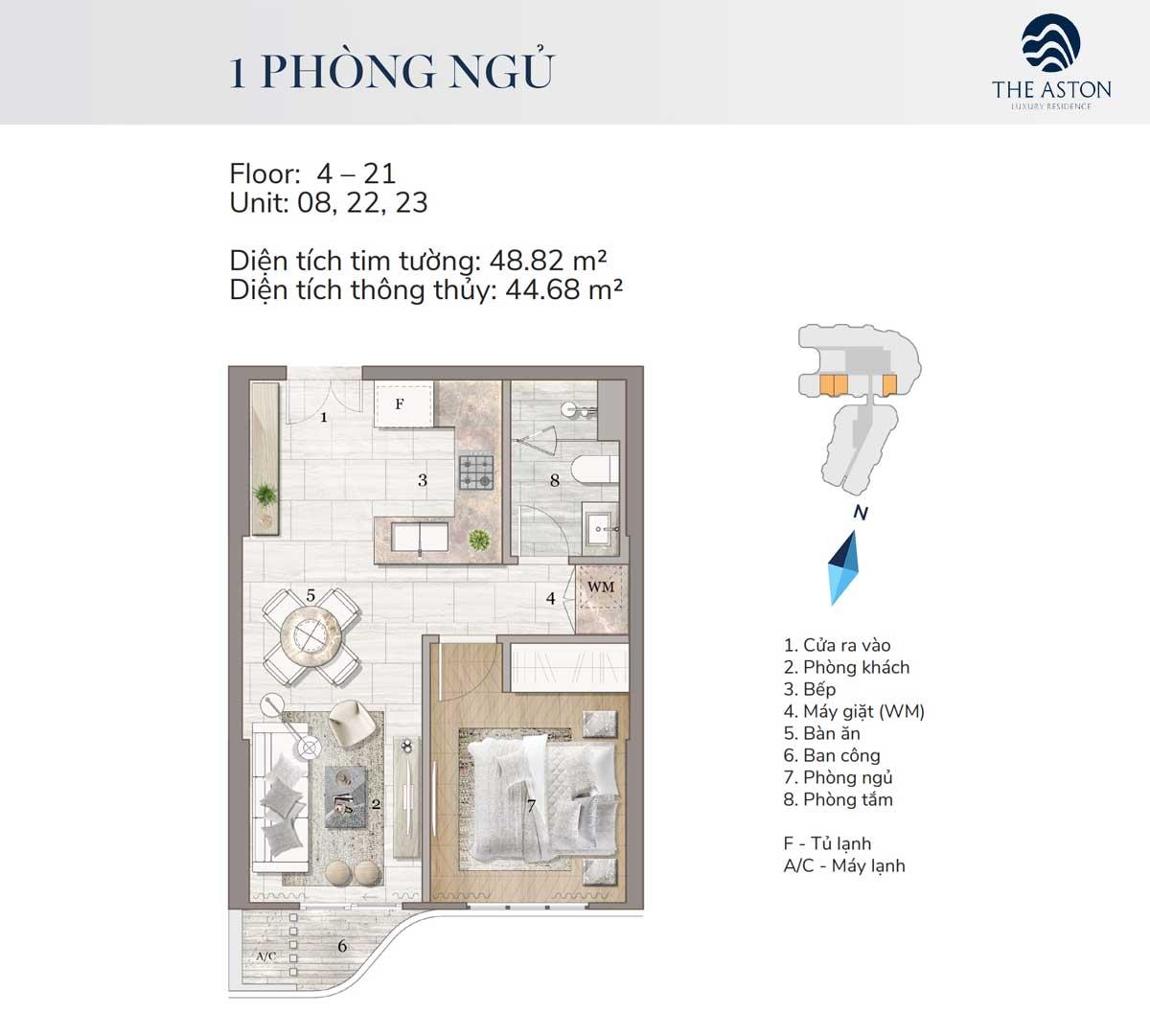 thiet ke can ho 1 phong ngu the aston luxury residence nha trang - THE ASTON LUXURY RESIDENCE NHA TRANG