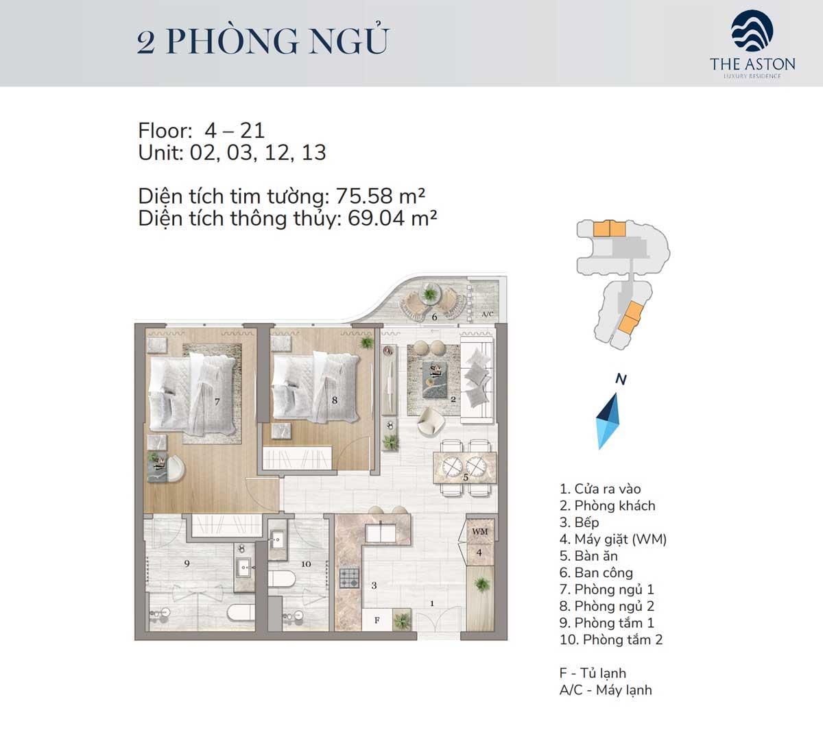 thiet ke can ho 2 phong ngu the aston luxury residence nha trang - THE ASTON LUXURY RESIDENCE NHA TRANG