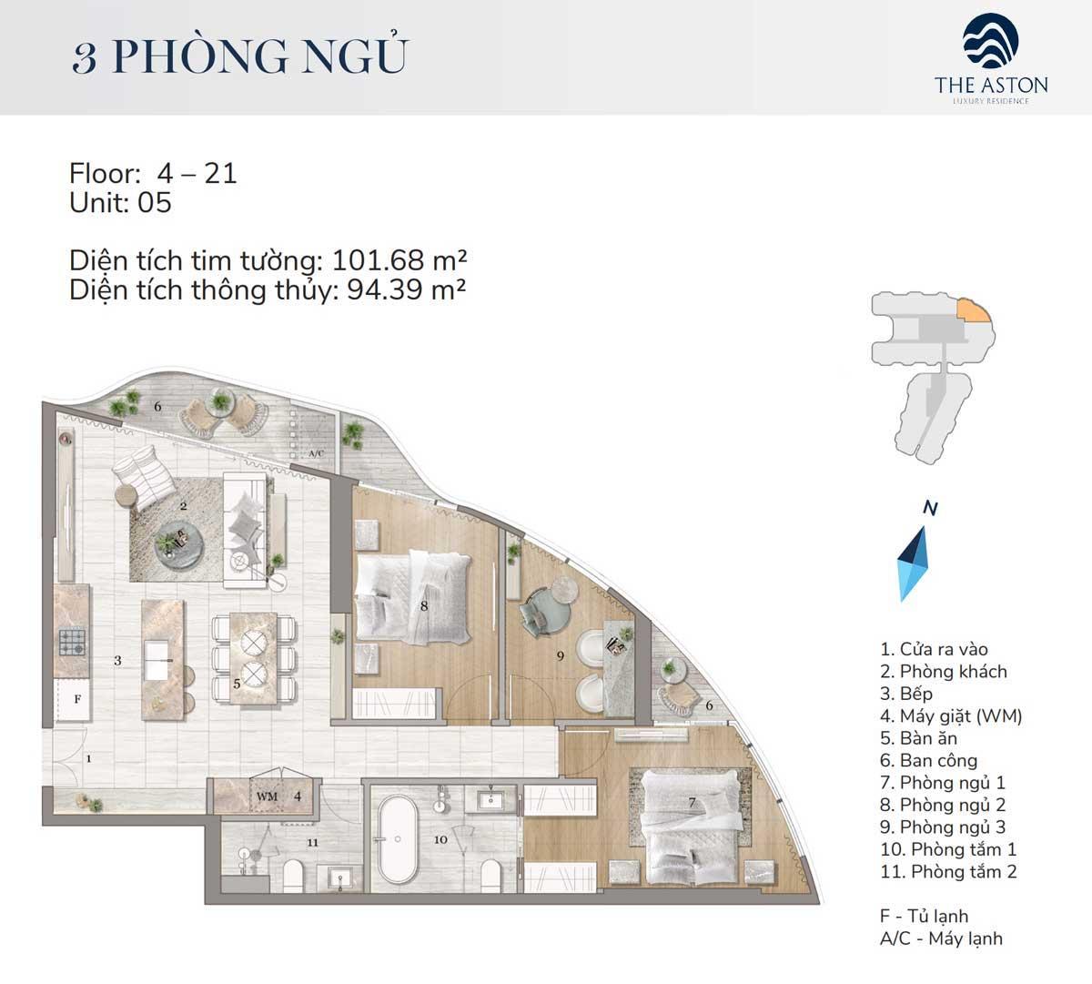 thiet ke can ho 3 phong ngu the aston luxury residence nha trang - THE ASTON LUXURY RESIDENCE NHA TRANG