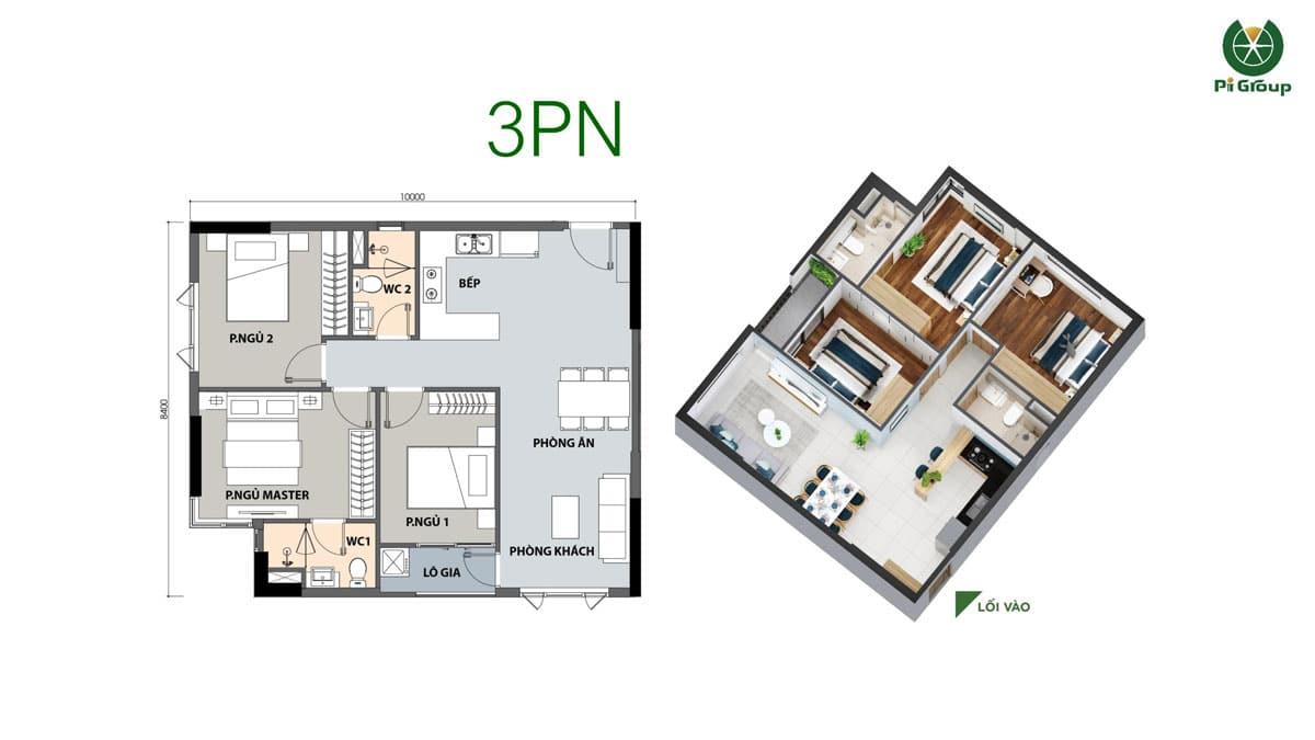 thiet ke can ho 3PN Park 1 Picity High Park Limited Edition - MỞ BÁN PARK 1 PICITY HIGH PARK LIMITED EDITION