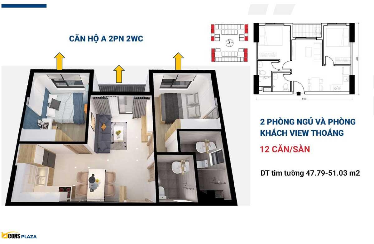 thiet ke can ho bcons plaza 2 phong ngu 2 wc - BCONS PLAZA