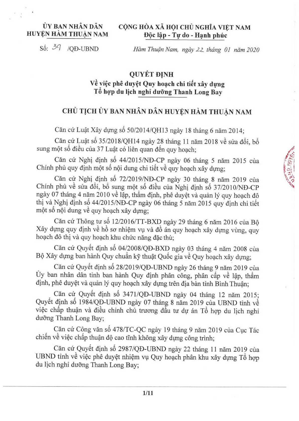 02. UBND 39 QD PHE DUYET QH CHI TIET XD TH DLND TLB 001 thanh long bay - Wyndham Coast By Thanh Long Bay