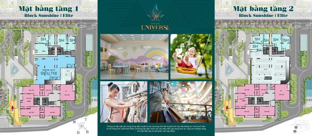 Mat bang Tang 1 2 Block Sunshine Block Elite - Biên Hòa Universe Complex
