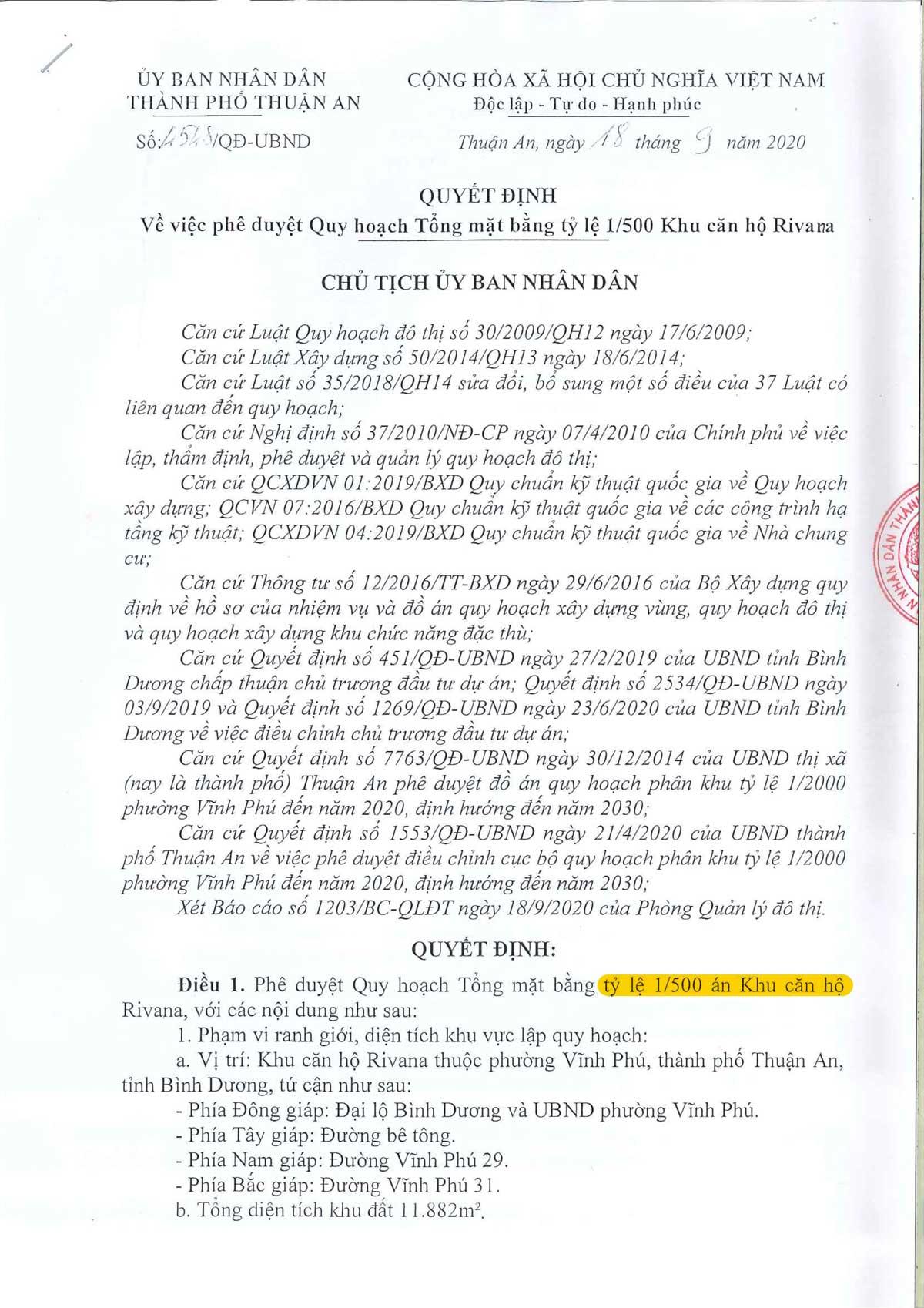 Phe duyet Quy hoach 1 phan 500 Du an The Rivana - CĂN HỘ THE RIVANA BÌNH DƯƠNG