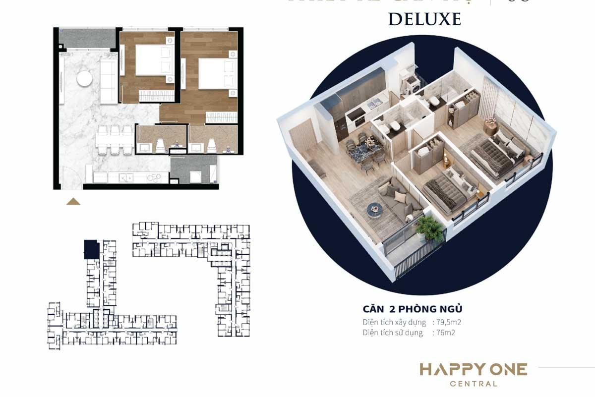 Thiet ke can ho 2 phong ngu duluxe happy one central - DỰ ÁN CĂN HỘ HAPPY ONE CENTRAL BÌNH DƯƠNG