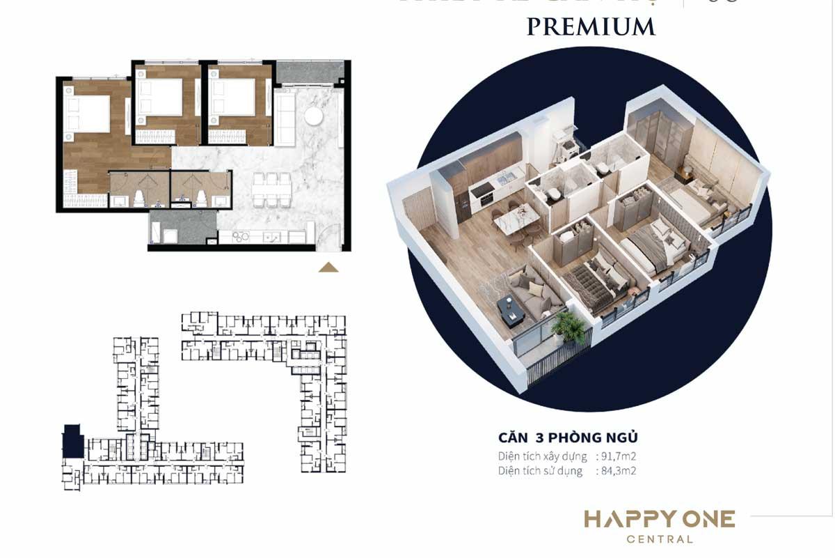 Thiet ke can ho 3 phong ngu premium happy one central - DỰ ÁN CĂN HỘ HAPPY ONE CENTRAL BÌNH DƯƠNG