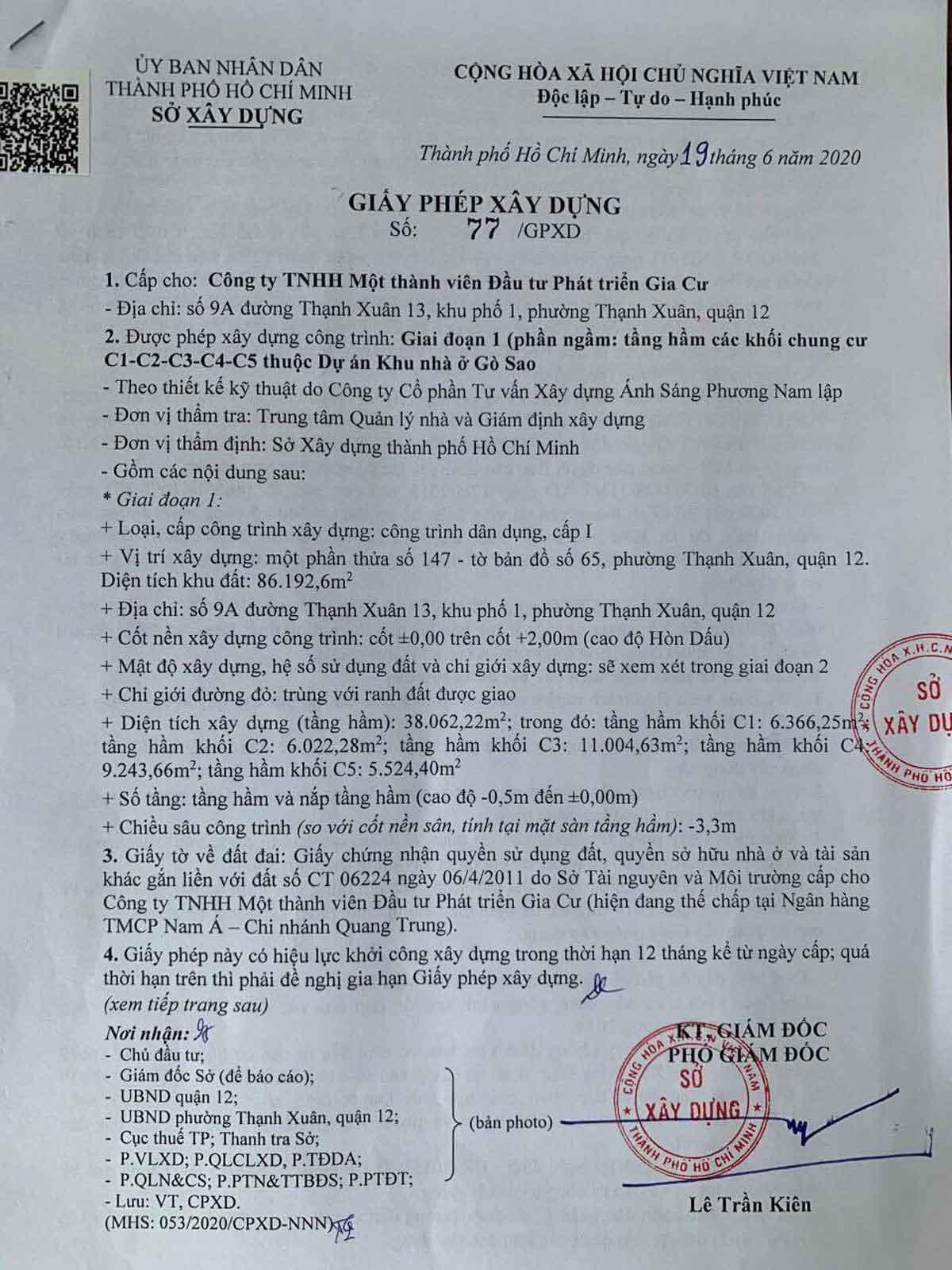 giay phep xay dung phan ngam du an picity high park 2020 - Pháp lý Dự án Căn hộ Picity High Park Quận 12
