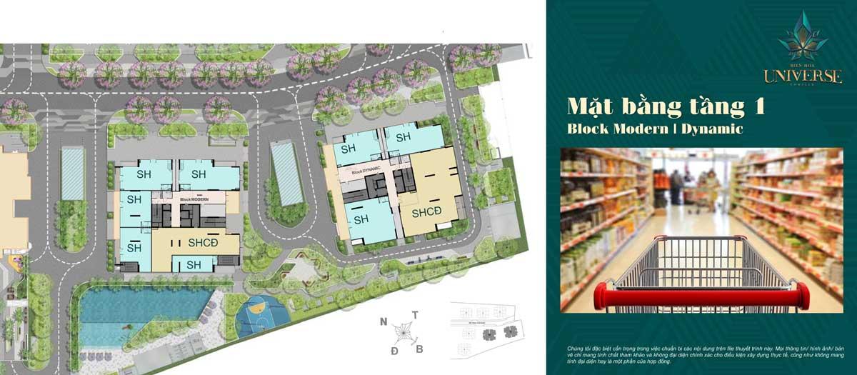 mat bang tang 1 Block Modern Block Dynamic - Biên Hòa Universe Complex