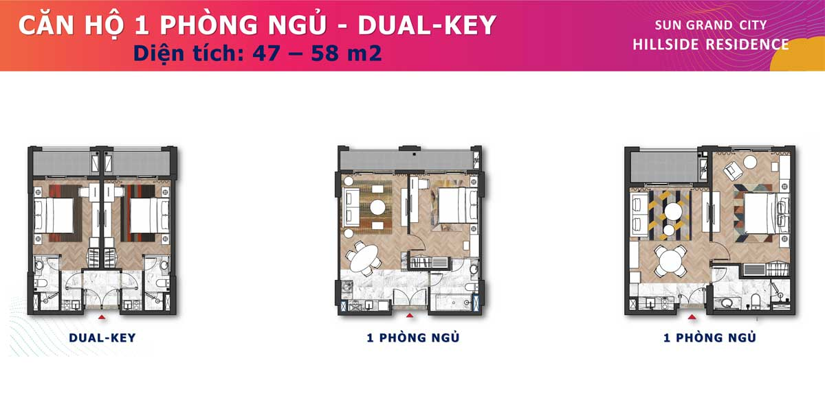 Can ho 1PN Dual Key 47 58m2 Sun Grand City Hillside Residence - SUN GRAND CITY HILLSIDE RESIDENCE