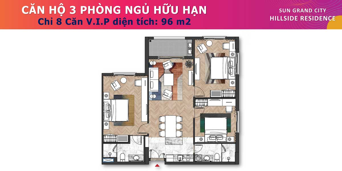 Can ho 3PN 96m2 Sun Grand City Hillside Residence - SUN GRAND CITY HILLSIDE RESIDENCE