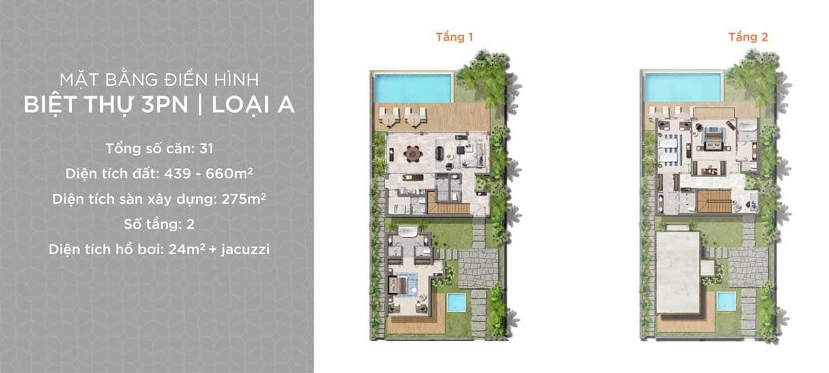 Thiet ke Biet thu Hyatt Regency Ho Tram Residences 3 Phong ngu Loai A - Hyatt Regency Ho Tram Residences