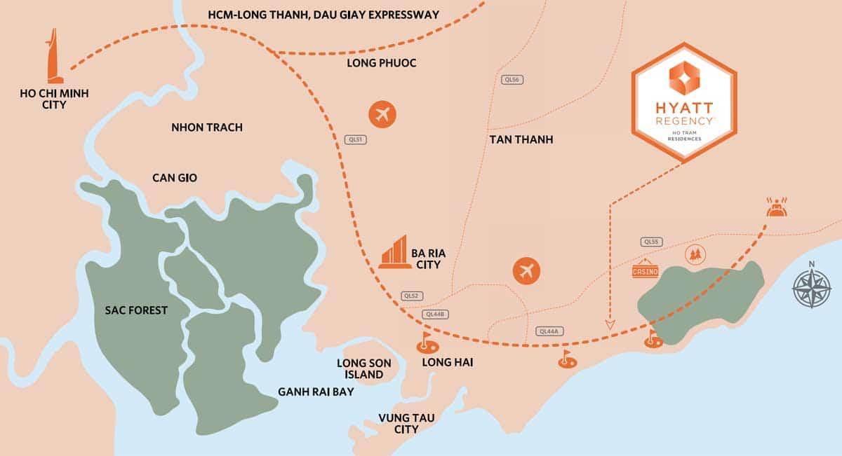 Vi tri Du an Hyatt Regency Ho Tram Residences - Hyatt Regency Ho Tram Residences