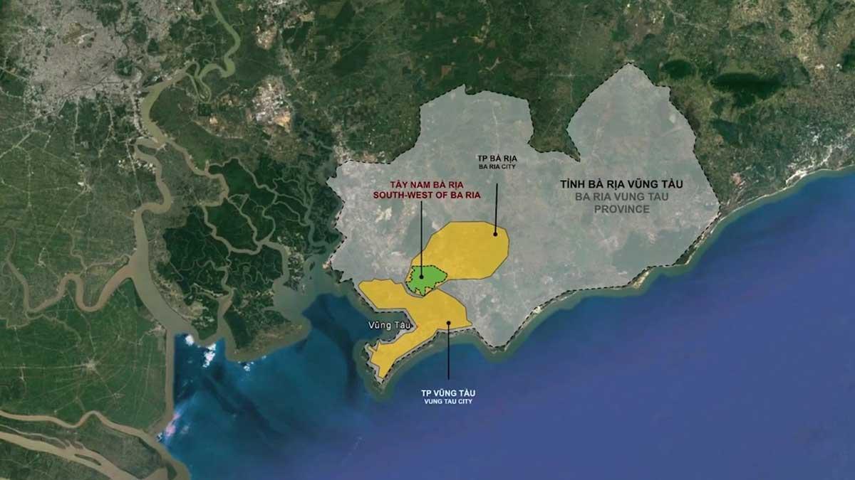 Vi tri Du an Khu do thi Tay Nam Ba Ria Vung Tau - Dự án Khu đô thị Tây Nam Bà Rịa Vũng Tàu