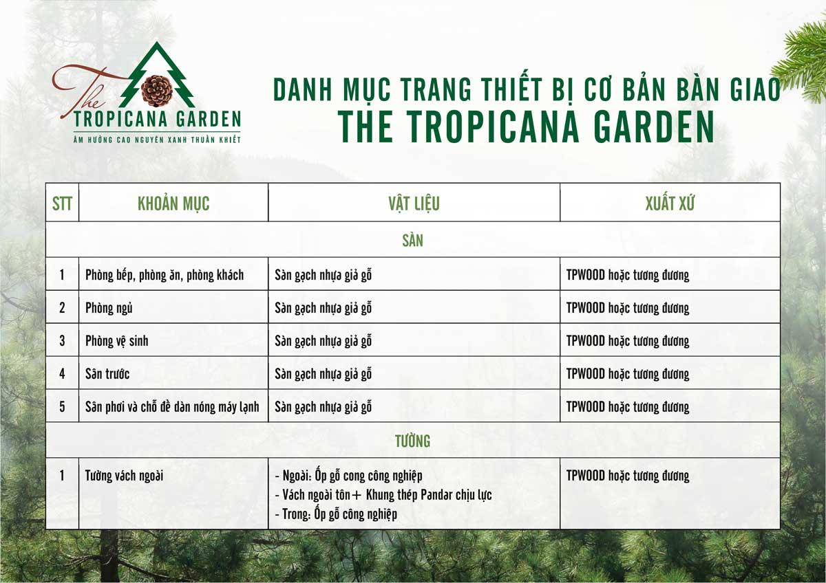 danh muc trang thiet bi co ban ban giao The Tropicana Garden 1 - THE TROPICANA GARDEN