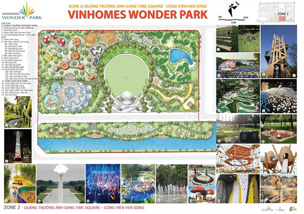 tien ich zone 2 cong vien anh sang time square cong vien ven song vinhomes wonder park - Vinhomes Wonder Park