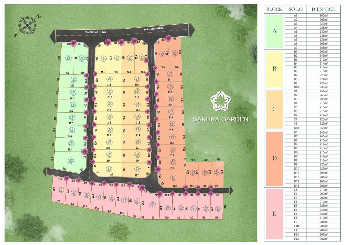 Mat bang phan lo Sakura Garden Bao Loc - Mặt-bằng-phân-lô-Sakura-Garden-Bảo-Lộc