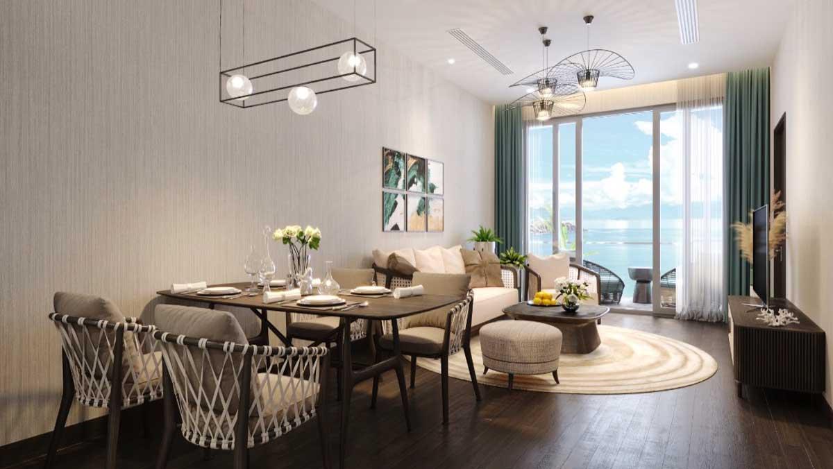 Phong khach va ban an Can 2 Phong ngu 84 m2 Edna Grand Mercure Phan Thiet - EDNA GRAND MERCURE PHAN THIẾT