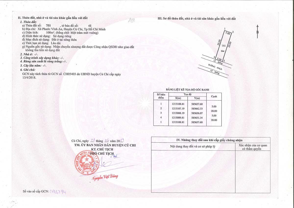 So hong lo dat A12 Khu dan cu Thinh Vuong 2 Residence - Khu dân cư Thịnh Vượng 2 Residence Củ Chi