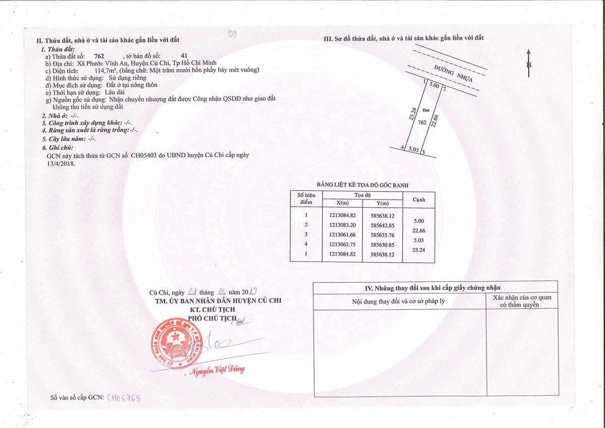 So hong lo dat Khu dan cu Thinh Vuong 2 Residence Cu Chi - Khu dân cư Thịnh Vượng 2 Residence Củ Chi