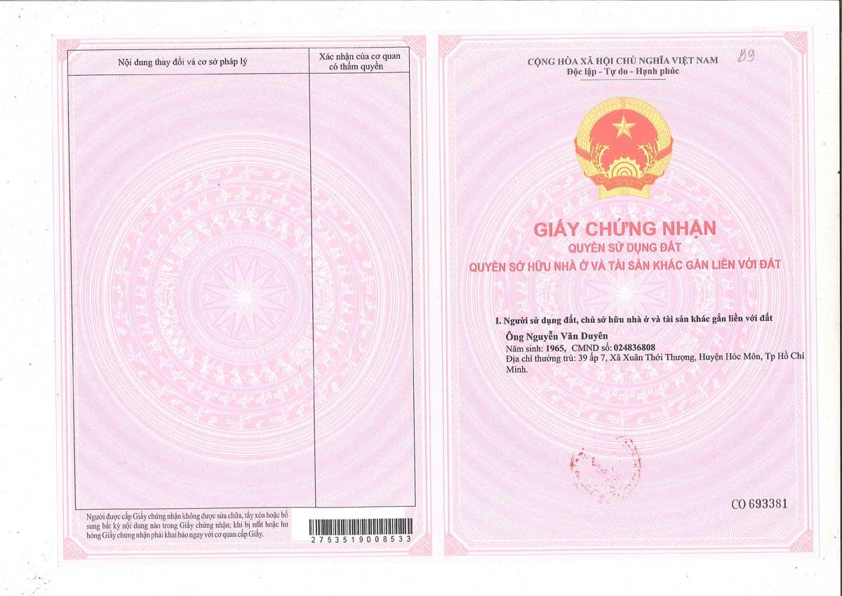 So hong lo dat Khu dan cu Thinh Vuong 2 Residence - Khu dân cư Thịnh Vượng 2 Residence Củ Chi