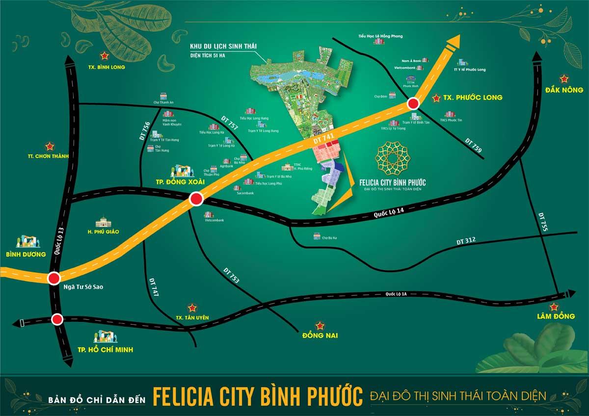 Ban do Vi tri Du An Felicia City Binh Phuoc - FELICIA CITY BÌNH PHƯỚC