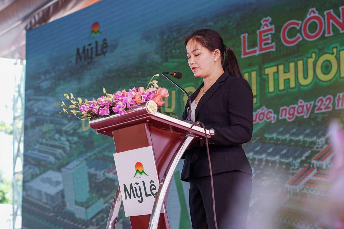 Tran Thi Xuan Hien Tong giam doc Cong ty My Le phát biẻu tại buỏi lẽ cong bó Dụ án - Trần-Thị-Xuân-Hiền---Tổng-giám-đốc-Công-ty-Mỹ-Lệ-phát-biểu-tại-buổi-lễ-công-bố-Dự-án