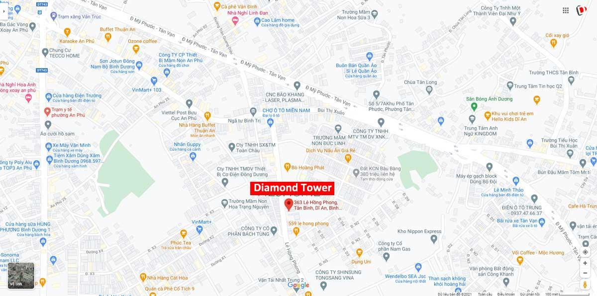 Vi tri Du an can ho Diamond Tower - Diamond Tower Dĩ An Bình Dương