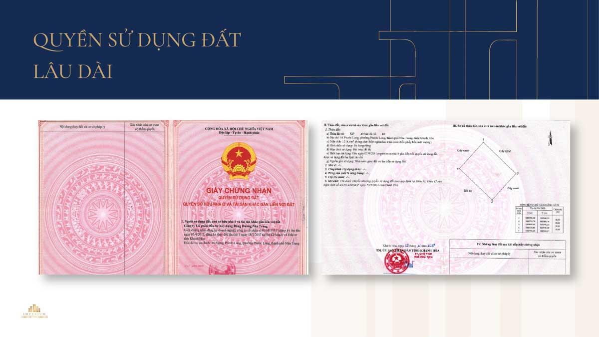 Giay chung nhan Quyen su dung dat lau dai Du an Imperium Town View Nha Trang - IMPERIUM TOWN NHA TRANG