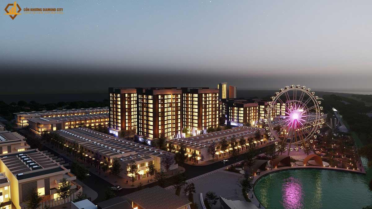 Khu can ho Con Khuong Diamond City ve dem - Cồn Khương Diamond City