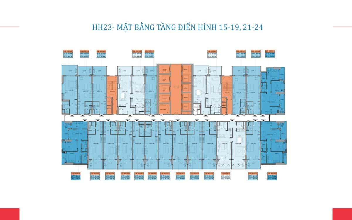 Mat bang tang dien hinh tang 15 19 21 24 toa HH23 Takashi Ocean Suite Ky Co - TAKASHI OCEAN SUITE