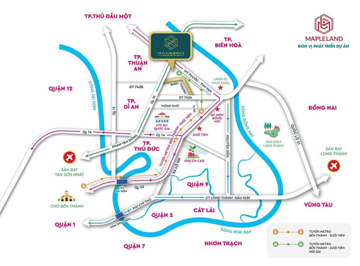 Vi tri Du an Can ho Chung cu Honas Residence Di An Binh Duong - Vị-trí-Dự-án-Căn-hộ-Chung-cư-Honas-Residence-Dĩ-An-Bình-Dương