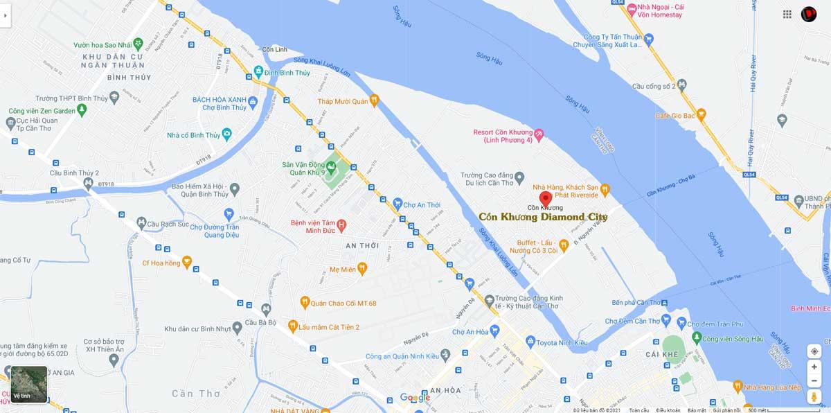 Vi tri Du an Con Khuong Diamond City - Cồn Khương Diamond City