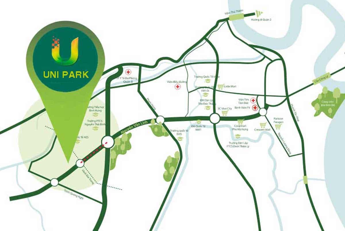 vi tri du an uni park nguyen van linh binh chanh - Uni Park