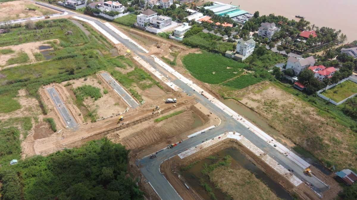 Flycam tien do thi cong du an con khuong diamond city moi nhat thang 6 nam 2021 - Cồn Khương Diamond City