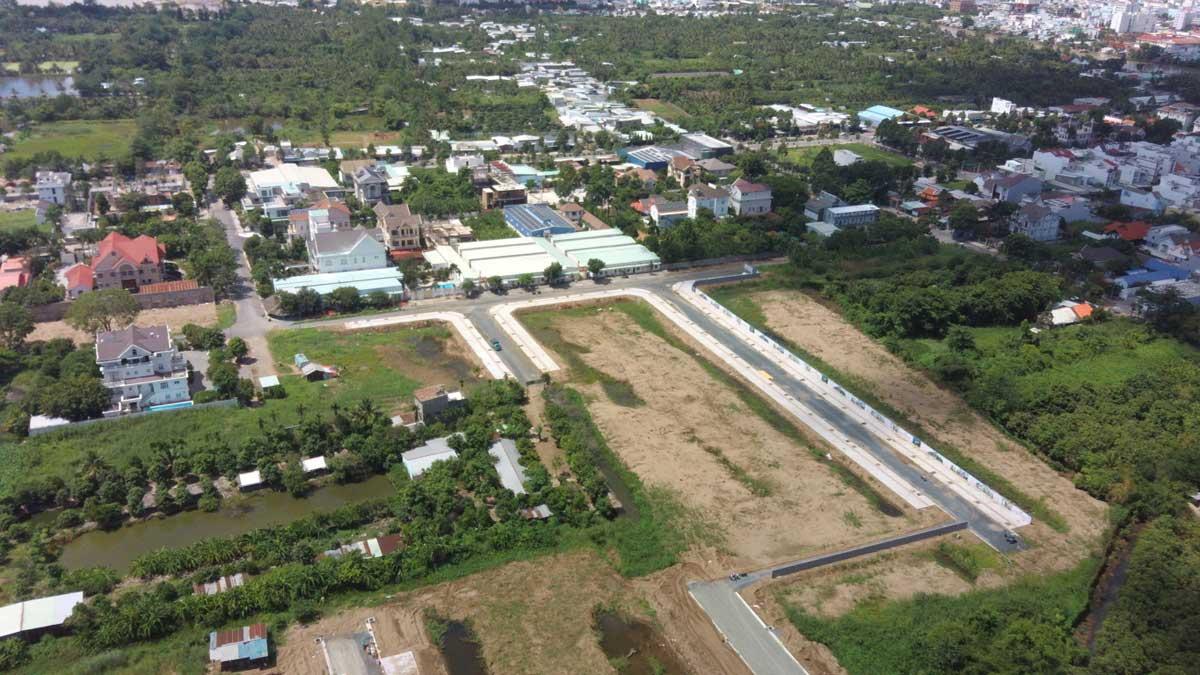 Flycam tien do thi cong du an con khuong diamond city thang 6 nam 2021 - Cồn Khương Diamond City