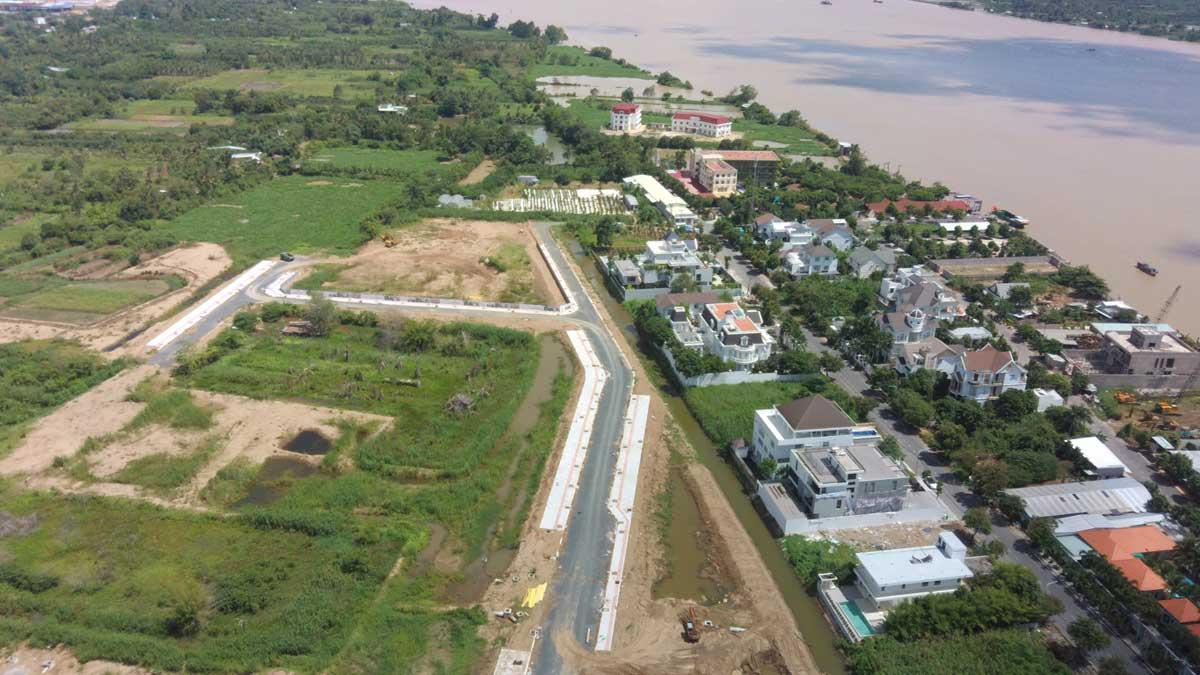 Flycam tien do thi cong du an khu do thi con khuong diamond city thang 6 nam 2021 - Cồn Khương Diamond City