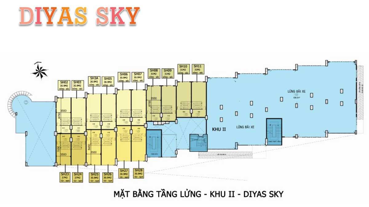 Mat bang tang lung khu 2 Diyas Sky - Diyas Sky