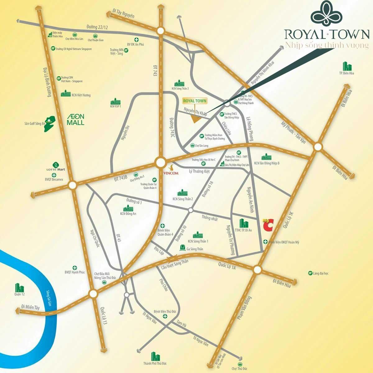 Vi tri Du an Nha pho Royal Town - Royal Town