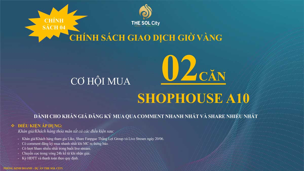 chinh sach giao dich gio vang tai the sol city - The Sol City