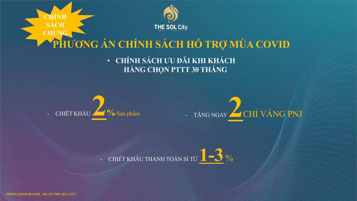 chinh sach ho tro khach hang mua covid tai du an the sol city - The Sol City