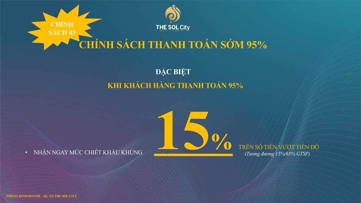 chinh sach thanh toan som 95 the sol city - The Sol City