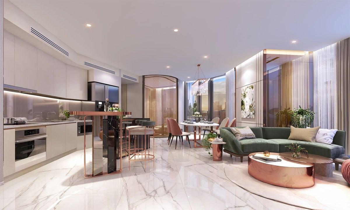 Khu phong khach va bep Can ho Thao Dien Green Towers Quan 2 - Thảo Điền Green Towers Quận 2