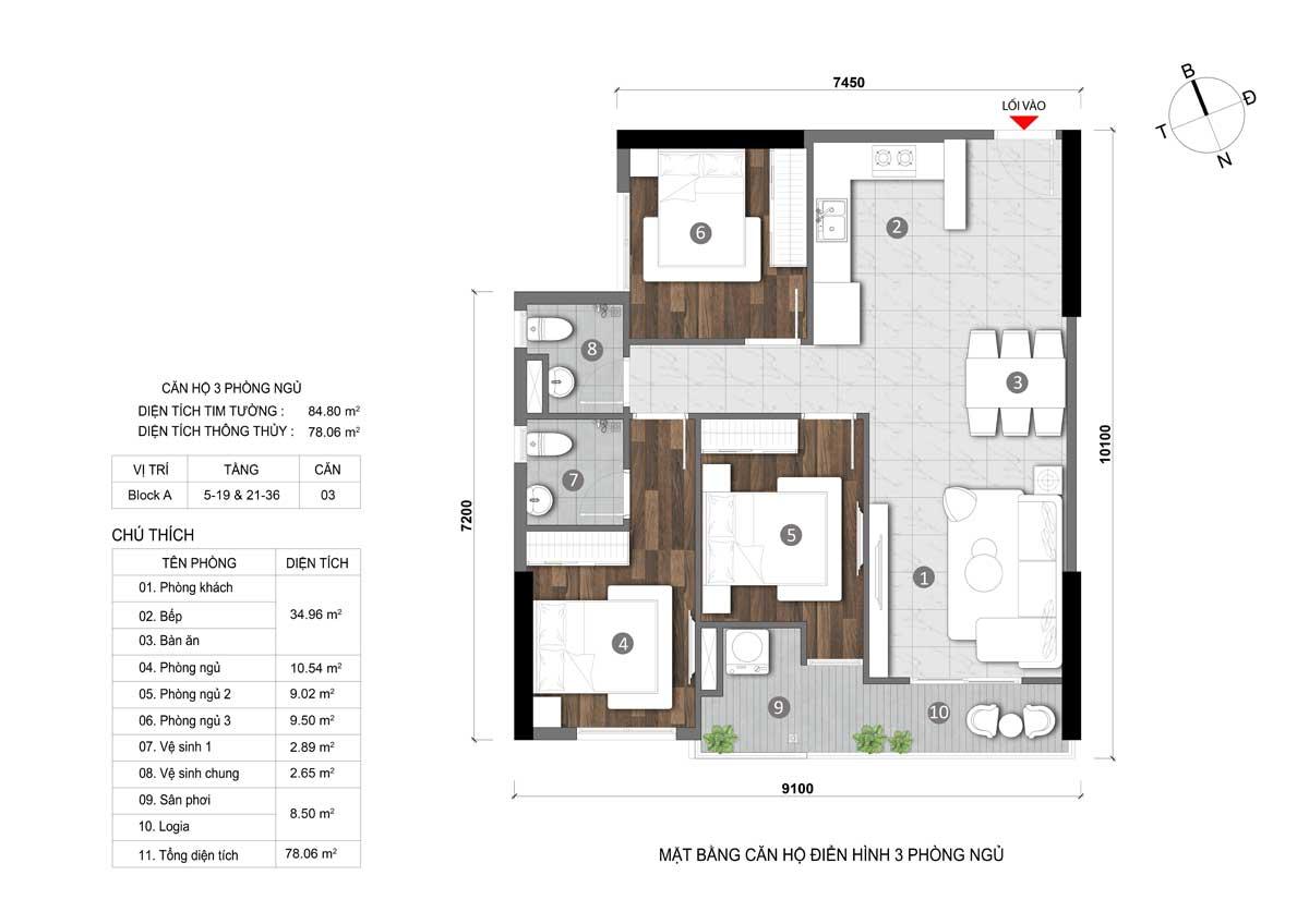 Thiet ke Can ho 3PN Dat Xanh Homes CityView - Thiết-kế-Căn-hộ-3PN-Dat-Xanh-Homes-CityView