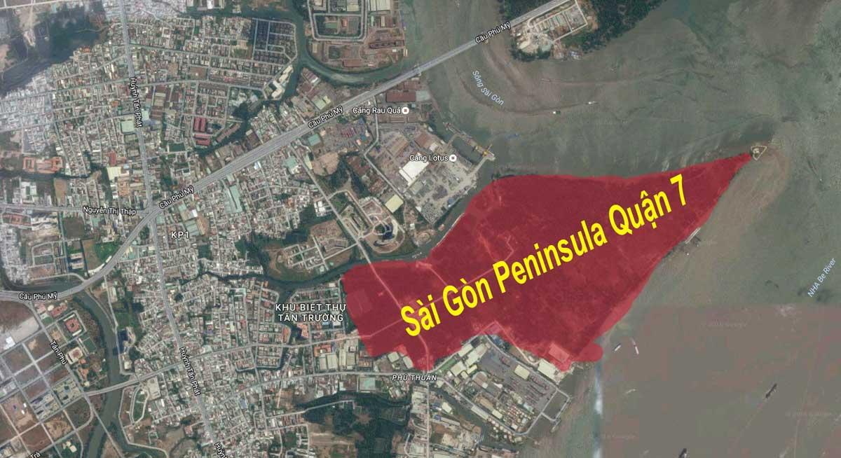 Vi tri Du an Saigon Peninsula Quan 7 tren Google Maps - Vị-trí-Dự-án-Saigon-Peninsula-Quận-7-trên-Google-Maps