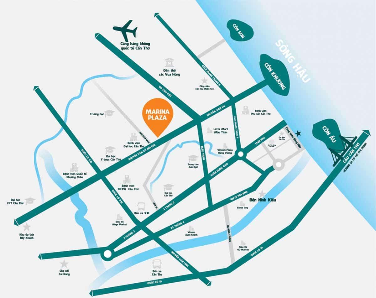 Vi tri Du an Thien Quan Marina Plaza Can Tho - Thiên Quân Marina Plaza Cần Thơ