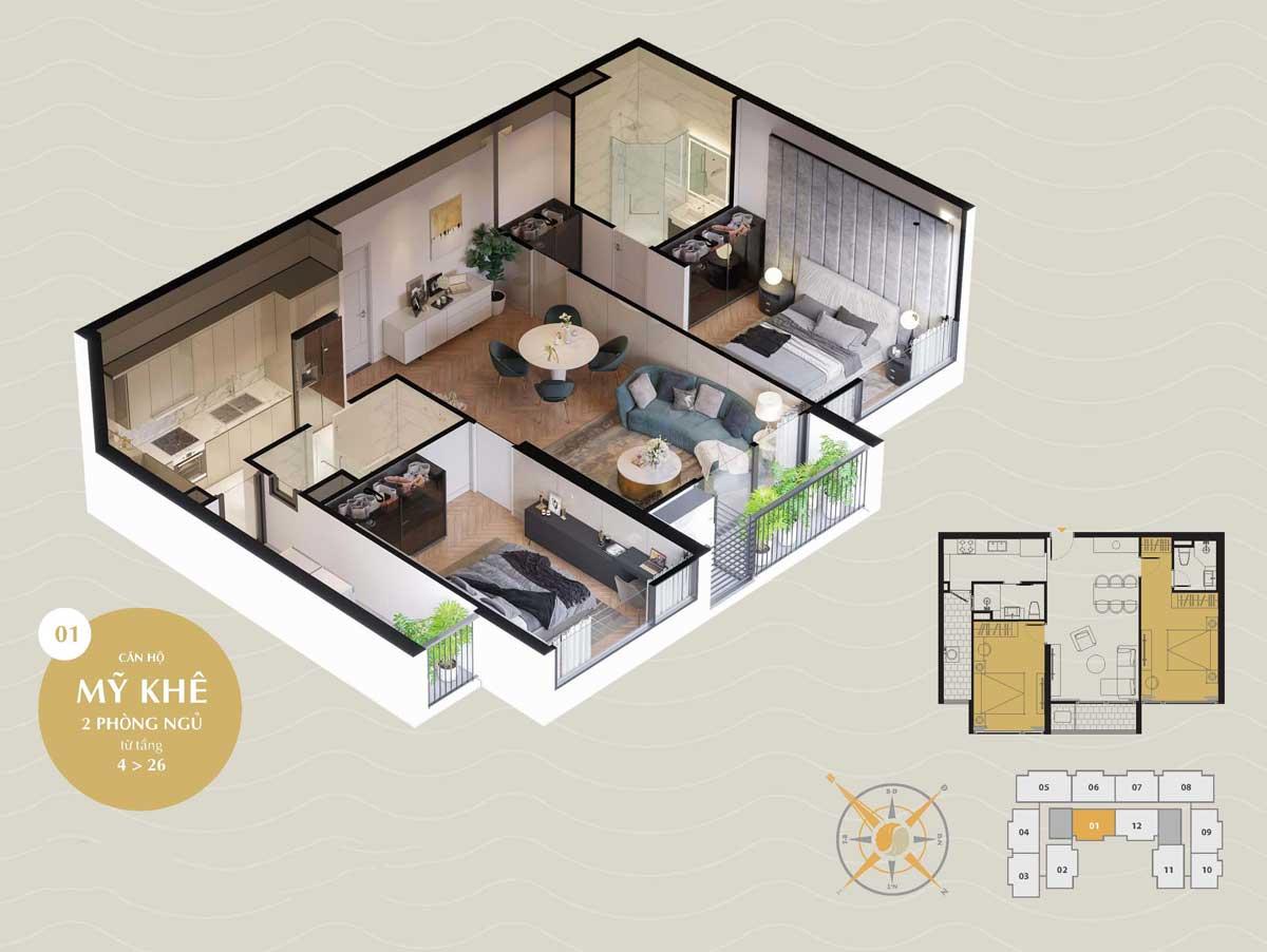 can ho my khe 2pn the sang residence da nang 2021 - The Sang Residence