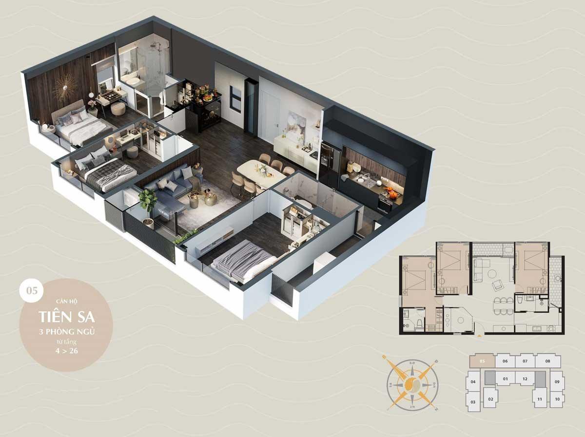 can ho tien sa 3pn the sang residence da nang 2021 - The Sang Residence