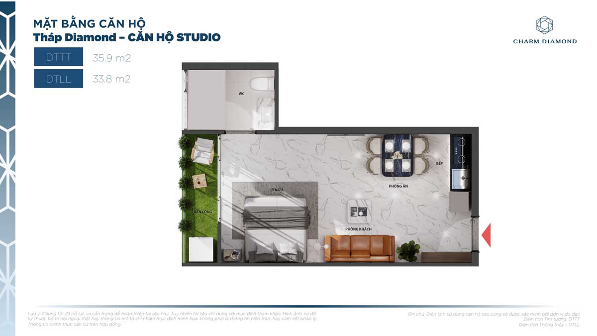 Can ho Studio 35.9m2 Charm Diamond - Can-ho-Studio-35.9m2-Charm-Diamond