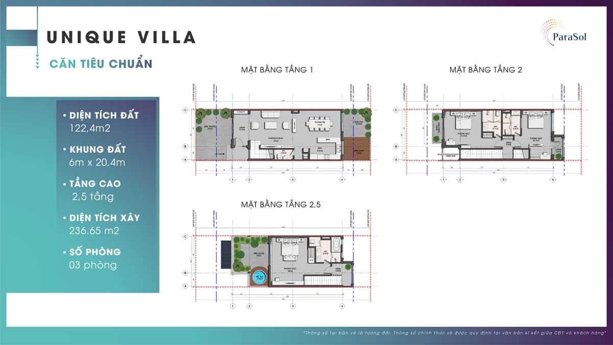 Mat bang tang Unique Villa can tieu chuan - ParaSol Cam Ranh