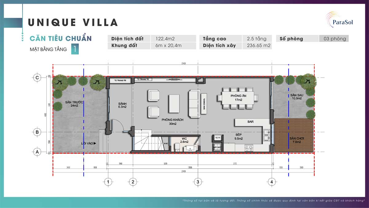 Mat bang tang 1 Unique Villa can tieu chuan - Mặt-bằng-tầng-1-Unique-Villa-căn-tiêu-chuẩn